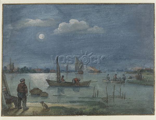 Fishermen at moonlight - by Hendrick Avercamp, 1595 - 1634