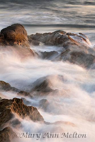 Long exposure image of waves hitting the rocks at La Jolla, California
