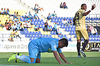 MONTERIA - COLOMBIA, 07-04-2019: Raphael Lucas de Jaguares reacciona al perder una opción de gol durante el partido por la fecha 14 de la Liga Águila I 2019 entre Jaguares de Córdoba F.C. y Rionegro Águilas jugado en el estadio Jaraguay de la ciudad de Montería. / Raphael Lucas of Jaguares reacts after losing a goal oppotunity during match for the date 14 as part Aguila League I 2019 between Jaguares de Cordoba F.C. and Rionegro Aguilas played at Jaraguay stadium in Monteria city. Photo: VizzorImage / Andres Felipe Lopez / Cont