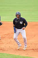 New York Yankees Roberto Chirinos (57) leads off first base during an Extended Spring Training game against the Detroit Tigers on June 19, 2021 at Tigertown in Lakeland, Florida.  (Mike Janes/Four Seam Images)