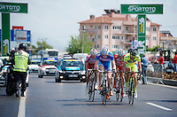 After a neutralised section due to extremely slippery roads (after rain) the breakaway group was 'released' again with a 3 minute headstart to the peloton<br /> <br /> Tour of Turkey 2014<br /> stage 4