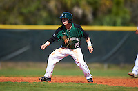 Dartmouth Big Green third baseman Justin Fowler (25) leads off second base during a game against the Eastern Michigan Eagles on February 25, 2017 at North Charlotte Regional Park in Port Charlotte, Florida.  Dartmouth defeated Eastern Michigan 8-4.  (Mike Janes/Four Seam Images)