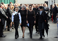 """COPY BY TOM BEDFORD<br />Pictured: Gemma Black, the mother of Pearl Black (3rd L) exits the chapel supported by family and friend after the service out of the Jerusalem Baptist Chapel in Merthyr Tydfil, Wales, UK. Friday 18 August 2017<br />Re: The funeral of a toddler who died after a parked Range Rover's brakes failed and it hit a garden wall which fell on top of her will be held today at Jerusalem Baptist Chapel in Merthyr Tydfil.<br />One year old Pearl Melody Black and her eight-month-old brother were taken to hospital after the incident in south Wales.<br />Pearl's family, father Paul who is The Voice contestant and mum Gemma have said she was """"as bright as the stars""""."""