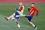 Spain's Jordi Alba (r) and Gerard Deulofeu during training session. March 20,2017.(ALTERPHOTOS/Acero)