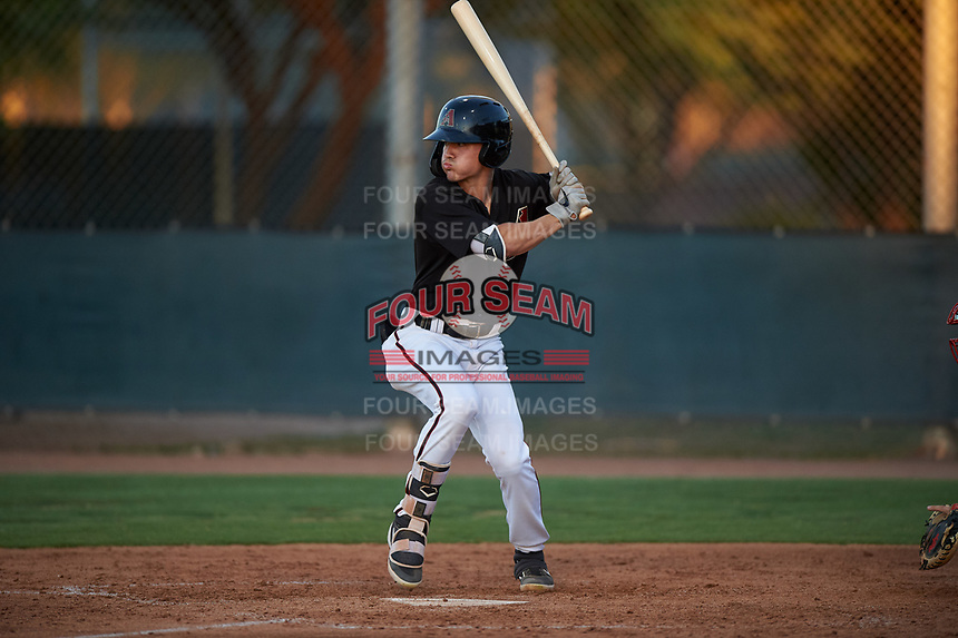 AZL D-backs Corbin Carroll (2) at bat during an Arizona League game against the AZL Angels on July 20, 2019 at Salt River Fields at Talking Stick in Scottsdale, Arizona. The AZL Angels defeated the AZL D-backs 11-4. (Zachary Lucy/Four Seam Images)