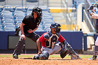 Umpire Chad Westlake and FCL Twins catcher Wilfri Castro (37) during a game against the FCL Rays on July 20, 2021 at Charlotte Sports Park in Port Charlotte, Florida.  (Mike Janes/Four Seam Images)