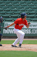 GCL Red Sox outfielder Bryan Hudson (43) during a game against the GCL Twins on July 19, 2013 at JetBlue Park at Fenway South in Fort Myers, Florida.  GCL Red Sox defeated the GCL Twins 4-2.  (Mike Janes/Four Seam Images)