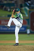 Fort Wayne TinCaps relief pitcher Adrian Martinez (13) in action against the West Michigan Whitecaps at Parkview Field on August 5, 2019 in Fort Wayne, Indiana. The TinCaps defeated the Whitecaps 9-3. (Brian Westerholt/Four Seam Images)