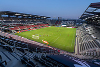WASHINGTON, DC - SEPTEMBER 06: The sun sets at Audi Field during a game between New York City FC and D.C. United at Audi Field on September 06, 2020 in Washington, DC.