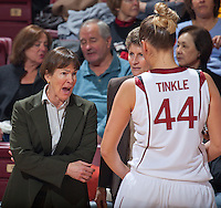 STANFORD, CA - December 12, 2010: Coach Tara VanDerveer and Joslyn Tinkle of the Stanford Cardinal women's basketball team during Stanford's victory over Fresno State. Stanford won 77-40.
