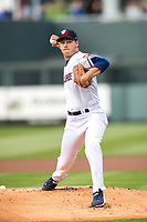 Wichita Wind Surge pitcher Cole Sands (26) throws the first pitch at the new stadium against the Amarillo Sod Poodles at Riverfront Stadium in on May 11th, 2021 in Wichita, Kansas. (William Purnell/Four Seam Images)