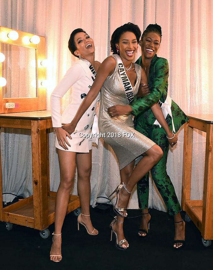 BANGKOK, THAILAND - DECEMBER 15: 2018 MISS UNIVERSE:  L-R: Miss Vietnam H'Hen Nie, Miss Cayman Islands Caitlin Tyson and Miss Great Britain Dee-Ann Kentish-Rogers during rehearsals for the 2018 MISS UNIVERSE competition at the Impact Arena in Bangkok, Thailand on December 15, 2018. Miss Universe will air live on Sunday, Dec. 16 (7:00-10:00 PM ET live/PT tape-delayed) on FOX.  (Photo by Frank Micelotta/FOX/PictureGroup)