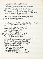 BNPS.co.uk (01202 558833)<br /> Pic: Bonhams/BNPS<br /> <br /> Saturday Nights Alright For Fighting...Est £160,000<br /> <br /> The original lyrics to Elton John's most famous songs are being sold in a million pound sale at Bonhams.<br /> <br /> They are being sold by his songwriting collaborator Bernie Taupin's ex wife Maxine Taupin, who was the inspiration for the song 'Tiny Dancer'.<br /> <br /> The auction includes the lyrics for the classic tracks 'Your Song', 'Goodbye Yellow Brick Road' and 'Candle in the Wind'.<br /> <br /> Its opening line was originally 'Goodbye Marilyn Monroe' but has been crossed out, with her real name 'Norma Jean' put in its place.<br /> <br /> Also going under the hammer are the lyrics for 'Bennie and the Jets', 'Saturday's Alright for Fighting' and 'The Border Song', which was a rare example of Elton and Taupin collaborating on the words.