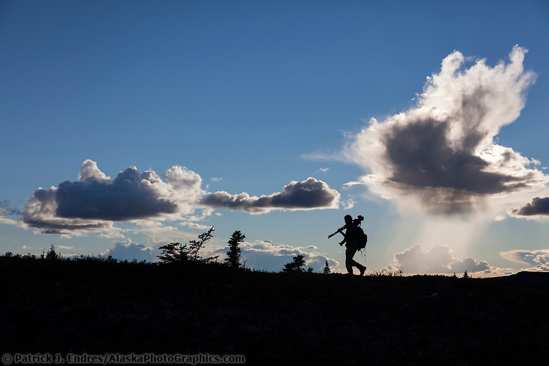 Photographer silhouetted against the sky in Denali National Park.