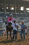 DEL MAR, CA  SEPTEMBER 5: #10 Liam's Dove, ridden by Kyle Frey, receive congratulations from trainer Peter Miller after winning the Del Mar Juvenile Fillies Turf on September 5, 2021 at Del Mar Thoroughbred Club in Del Mar, CA. (Photo by Casey Phillips/Eclipse Sportswire/CSM)