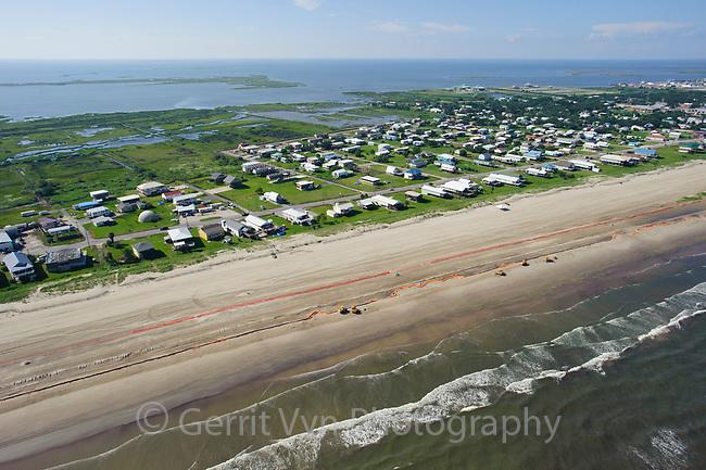 Oil booms on the beach at Grand Isle. Jefferson Parish, Louisiana. July 2010.