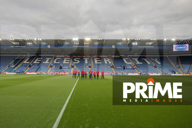 Fleetwood Town players inspect the pitch ahead of the English League Cup Round 2 Group North match between Leicester City and Fleetwood Town at the King Power Stadium, Leicester, England on 28 August 2018. Photo by David Horn.