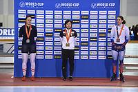 SPEEDSKATING: SALT LAKE CITY: Utah Olympic Oval, 09-03-2019, ISU World Cup Finals, Podium 500m Ladies, Vanessa Herzog (AUT), Nao Kodaira (JPN), Angelina Golikova (RUS), ©Martin de Jong
