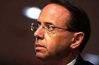 """Former United States Deputy Attorney General Rod Rosenstein testifies during a US Senate Judiciary Committee hearing to discuss the FBI's """"Crossfire Hurricane"""" investigation on Wednesday, June 3, 2020.<br /> Credit: Greg Nash / Pool via CNP/AdMedia"""