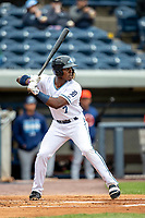 West Michigan Whitecaps second baseman Jeremiah Burks (7) at bat against the Bowling Green Hot Rods on May 21, 2019 at Fifth Third Ballpark in Grand Rapids, Michigan. The Whitecaps defeated the Hot Rods 4-3.  (Andrew Woolley/Four Seam Images)