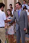 18.07.2012. Prince Felipe of Spain and Princess Letizia of Spain attends the participants in the 7th Edition of 'Europe Scholarship Program, University Francisco de Vitoria', chaired by Mr. Daniel Sada Castano at the Zarzuela Palace in Madrid. In the image Prince Felipe and Princess Letizia (Alterphotos/Marta Gonzalez)