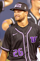 University of Washington Huskies Levi Jordan (26) is all smiles after the Huskies tenth inning win at Goodwin Field on June 10, 2018 in Fullerton, California. The Huskies defeated the Titans 6-5. (Donn Parris/Four Seam Images via AP Images)