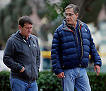 ARCADIA, CA - OCT 31: Trainer John Sadler (R) walks in the paddock during morning workouts at Santa Anita Park on October 31, 2016 in Arcadia, California. (Photo by Zoe Metz/Eclipse Sportswire/Breeders Cup)