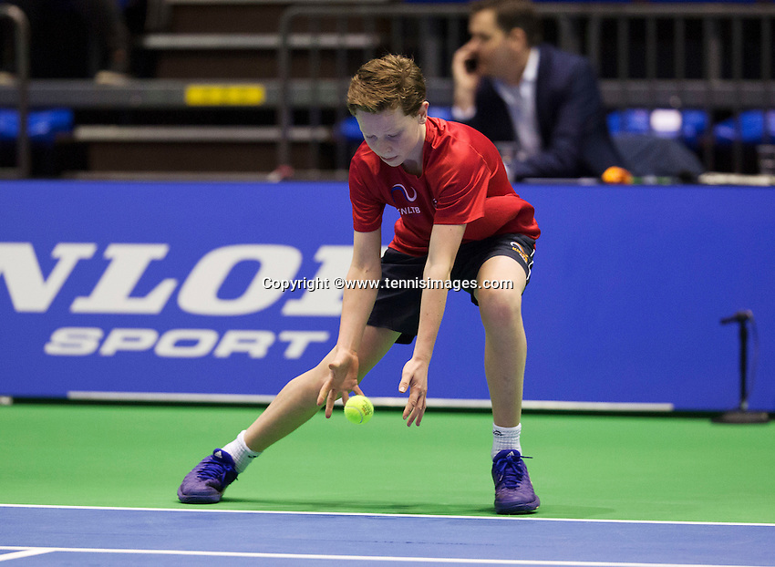 Rotterdam, Netherlands, December 20, 2015,  Topsport Centrum, Lotto NK Tennis, KNLTB, Wheelchait womans single final: Ballboy<br /> Photo: Tennisimages/Henk Koster