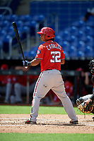 Washington Nationals Adalberto Carrillo (32) at bat during a Florida Instructional League game against the Miami Marlins on September 26, 2018 at the Marlins Park in Miami, Florida.  (Mike Janes/Four Seam Images)