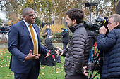 David Lammy MP interviewed by TV journalist on College Green, Westminster, London, on the day of four ministerial resignations over Brexit deal.