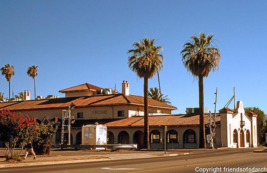 Mission RR Stations: Santa Fe Railroad Station, Fresno, 1910. South side of Tulare at Q. Still serves as Amtrak Station. Photo 2000.