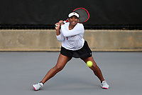 RALEIGH, NC - JANUARY 25: Carmen Corley of the University of Oklahoma during a game between Oklahoma and Florida at J.W. Isenhour Tennis Center on January 25, 2020 in Raleigh, North Carolina.
