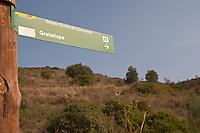 Walking path sign to Gratallops. Priorato, Catalonia, Spain