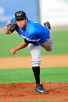 Hudson Valley Renegades starting pitcher Michael Velasquez (14) during a game versus the Lowell Spinners at Lelacheur Park on August 30, 2015 in Lowell, Massachusetts.  (Ken Babbitt/Four Seam Images)