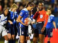 Frisco, TX. - February 15, 2016: The U.S. Women's National team takes 8-0 lead over Puerto Rico in second half action in CONCACAF Women's Olympic Qualifying at Toyota Stadium.