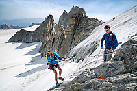 The Chamonix to Zermatt Glacier Haute Route. In late August 2017, we ran the tour in mountain running gear, running shoes, and all the necessary glacier travel and crevasse rescue gear. On the first day a rappel was required to descend a serac to reach the Plateau du Trient