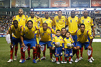 Colombia (COL) starting eleven. The men's national teams of the United States (USA) and Colombia (COL) played to a 0-0 tie during an international friendly at PPL Park in Chester, PA, on October 12, 2010.