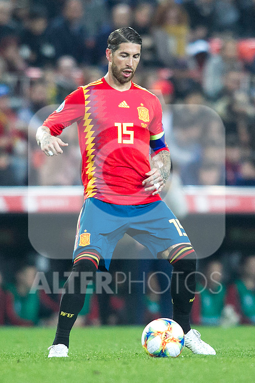 Spain's Sergio Ramos  during the qualifying match for Euro 2020 on 23th March, 2019 in Valencia, Spain. (ALTERPHOTOS/Alconada)