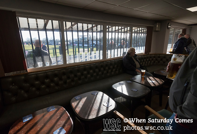 Rushall Olympic 1 Workingon 0, 17/02/2018. Dales Lane, Northern Premier League Premier Division. Fans watching with a pint in the clubhouse. Photo by Paul Thompson. Rushall Olympic 1 Workingon 0, Northern Premier League Premier Division, 17th February 2018. Rushall is a former mining village now part of the northern suburbs of Walsall.