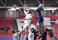23rd April 2021; Ashton Gate Stadium, Bristol, England; Premiership Rugby Union, Bristol Bears versus Exeter Chiefs; Jonny Hill of Exeter Chiefs wins the lineout ball from Dave Attwood of Bristol Bears