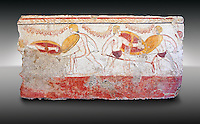 Lucanian fresco tomb painting of men dualing . Paestrum, Andriuolo. 3rd Century BC