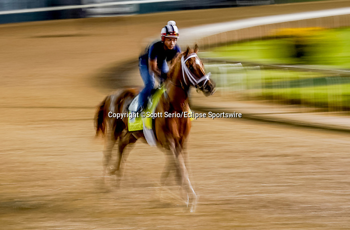 April 29, 2021: Dynamic One exercises in preparation for the Kentucky Derby at Churchill Downs on April 29, 2021 in Louisville, Kentucky. Scott Serio/Eclipse Sportswire/CSM