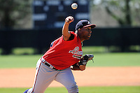 Pitcher Daniel Carela (38) of the Atlanta Braves farm system in a Minor League Spring Training workout on Monday, March 16, 2015, at the ESPN Wide World of Sports Complex in Lake Buena Vista, Florida. (Tom Priddy/Four Seam Images)