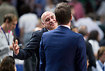 Real Madrid's coach Pablo Laso and UCAM Murcia's Fotios Katsikaris during the first match of the playoff at Barclaycard Center in Madrid. May 27, 2016. (ALTERPHOTOS/BorjaB.Hojas)