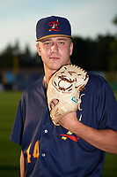 State College Spikes pitcher Will Latcham (44) poses for a photo before a game against the Auburn Doubledays on August 21, 2017 at Falcon Park in Auburn, New York.  Auburn defeated State College 6-1.  (Mike Janes/Four Seam Images)