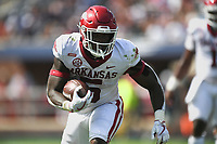 Arkansas running back Raheim Sanders (5) carries the ball, Saturday, October 9, 2021 during the second quarter of a football game at Vaught Hemingway Stadium in Oxford, Miss. Check out nwaonline.com/211010Daily/ for today's photo gallery. <br /> (NWA Democrat-Gazette/Charlie Kaijo)