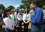 Gov. Brian Sandoval talks with 4-Hers following the ribbon-cutting ceremony at the NV150 Fair at Fuji Park, in Carson City, Nev., on Thursday, July 31, 2014.<br /> Photo by Cathleen Allison