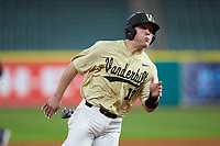 Stephen Scott (19) of the Vanderbilt Commodores hustles towards third base against the Houston Cougars during game nine of the 2018 Shriners Hospitals for Children College Classic at Minute Maid Park on March 3, 2018 in Houston, Texas. The Commodores defeated the Cougars 9-4. (Brian Westerholt/Four Seam Images)