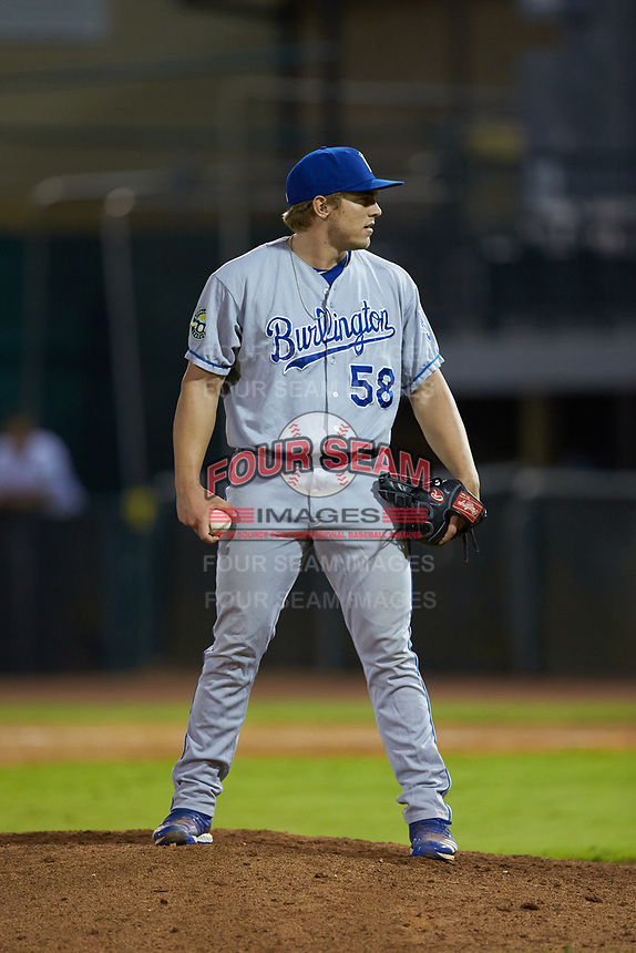 Burlington Royals relief pitcher Jonah Dipoto (58) looks to his catcher for the sign against the Pulaski Yankees at Calfee Park on September 1, 2019 in Pulaski, Virginia. The Royals defeated the Yankees 5-4 in 17 innings. (Brian Westerholt/Four Seam Images)