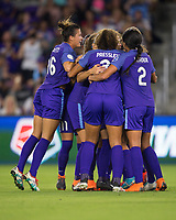 Orlando, FL - Saturday March 24, 2018: Orlando Pride players celebrate a penalty shot goal during a regular season National Women's Soccer League (NWSL) match between the Orlando Pride and the Utah Royals FC at Orlando City Stadium. The game ended in a 1-1 draw.